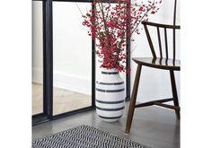 Kähler Design - A stunning grey ceramic vase. Handmade stripes.