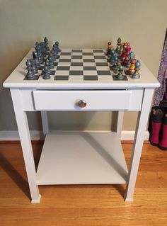 A thrift store table is turned into a creative Children's chess table | The Salvaged Boutique