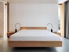 Minimal bedroom, design wood bed | Alpine House by Ralph Germann Architectes