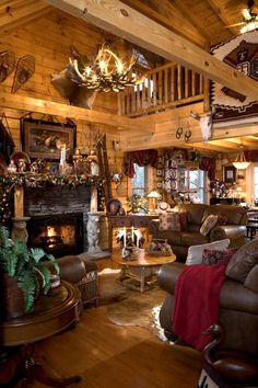 How 'bout them bears... They are holding up the mantle. Rustic Log Cabin Christmas