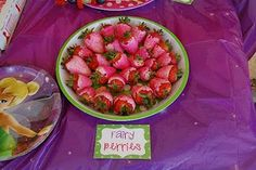 Party ideas for a Tinkerbell birthday! dipped in strawberry colored chocolate and call them fairy berries name all foods special names  je