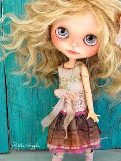 Blythe doll outfit OOAK  *Sunshine in Provence*  -Grungy-chic dress, handembroidery, silk and antique lace