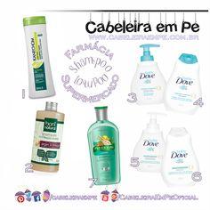 Shampoo sem sulfato (Liberado para Low Poo) encontrado em Farmácias e Supermercados (edição com as marcas Kanechom, Boni Natural, Dove e Phytoervas)