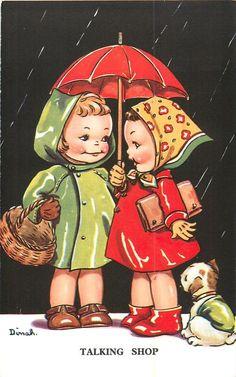 I like this because the blonde one is taller than the brunette, just like you and I. Umbrella Art, Under My Umbrella, Images Vintage, Vintage Pictures, Vintage Greeting Cards, Vintage Postcards, Rain Art, Vintage Drawing, Vintage Children's Books