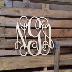 Monogram  Large Wooden Wall Art  Cursive  by ASimplePlaceOnMain