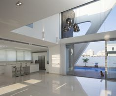 Villa Style Inspired by Spaceship Look : Home Interior Among Modern Bright Decoration Design With Black Pendant Lighting Ideas As Home Inspiration