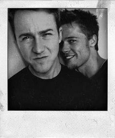 Project Headway (source: https://instagram.com/90sdelights.com)  Edward Norton and Brad Pitt on the set of Fight Club, 1999