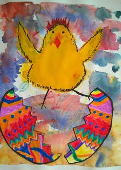 Pääsiäisyllätys Summer Art Projects, Easter Projects, Easter Art, Easter Crafts, 2nd Grade Art, Diy Ostern, Holiday Crafts For Kids, Art Lessons Elementary, Elements Of Art