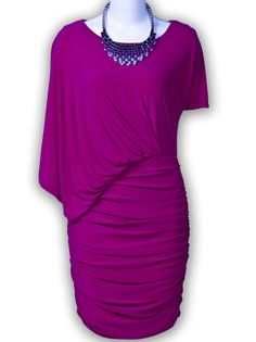 Purple Asymmetric Sleeve Ruched Side Bodycon Dress