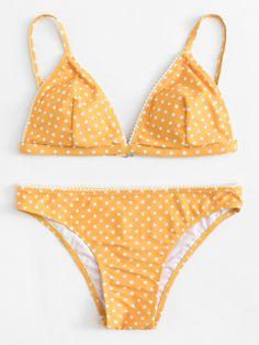 0ff121d8f4853 Dreiecke Bikini Set mit Punktemuster - German romwe Bikini Swimwear