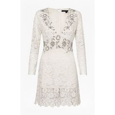 Emmie Lace Embellished Dress ❤ liked on Polyvore featuring dresses, white a line dress, lace dress, white lace dress, white dress and long lace dress