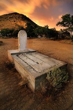 Graveyard at midnight: Virginia City, NV
