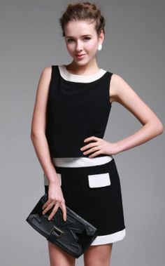 TS Modern Style Color Block Fake Two Piece Dress (More Colors)