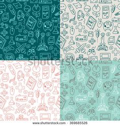 Video Game doodle seamless pattern 4 different color scheme