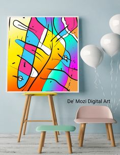 Mural Painting, Eames, Mosaic, Digital Art, Wall Art, Abstract, Chair, Prints, Furniture
