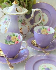 ltra Violet has been announced as the 2018 Color of The Year by Here is our softer version from our Luxury High Tea Hire Tea Cup Set, My Cup Of Tea, Tea Cup Saucer, Café Chocolate, Lavender Tea, Keramik Vase, Teapots And Cups, Vintage Dishes, Vintage Table