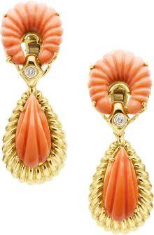 Estate Jewelry:Earrings, Coral, Diamond, Gold Earrings, Van Cleef & Arpels. ...