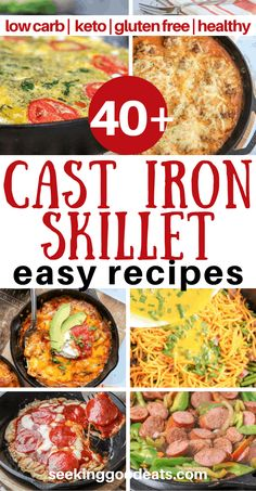 Cast iron recipes you will love! cast iron skillet recipes that are not only tasty but low carb and keto as well. Easy one-pan dinners from stovetop to oven. Family-friendly easy recipes that ever Cast Iron Skillet Cooking, Iron Skillet Recipes, One Skillet Meals, Cast Iron Recipes, One Pot Meals, Easy Recipes, Dinner Recipes, Easy Meals, Cooking Recipes