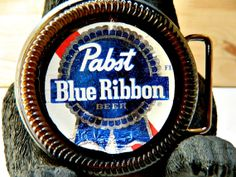Beer Belt Buckle Pabst Blue Ribbon PBR handcrafted by by BrewPaw, $28.99