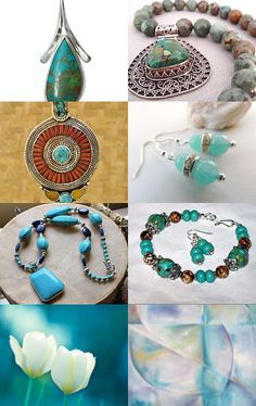 """""""Turquoise and Aquamarine gift guide ideas"""" Curated by CrowsFeathers @  http://www.etsy.com/shop/CrowsFeathers  Featuring my Nepalese Handmade White Metal Turquoise Coral Resin Inlay Focal Bead @    https://www.etsy.com/listing/129522209/nepalese-handmade-white-metal-turquoise?ref=tre-2721787805-3"""