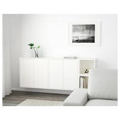 EKET Wall-mounted cabinet combination - white - IKEA - or maybe light grey? Ikea Wall Cabinets, Floating Cabinets, Wall Cabinets Living Room, Floating Media Console, Floating Shelves, Wall Storage, Bedroom Storage, Wall Shelving, Shelving Units