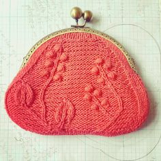 Knitted Purse with Leaves and Bobbles Free Knitting Pattern | Bag, Purse, and Tote Free Knitting Patterns at http://intheloopknitting.com/bag-purse-and-tote-free-knitting-patterns/