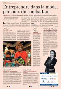 """Orybany dans le journal """"Le soir"""" édition du lundi 13 juin 2016 """"Entreprendre dans la mode c'est vraiment un parcours du combattant"""". Chez Orybany on s'adapte et on recycle! #Orybany #ModeAlternative #EconomieCirculaire #ModeEthique #ModeResponsable #ModeDurable #ModeUpcycling"""