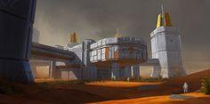 Mars terraforming station by British/Polish digital artist Mateusz Katzig.