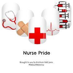 Nurse Pride - Nail Art Studio Jamberry nail wraps #nurse #nursing #doctor #care #medical #healthcare #jamberry #nailart
