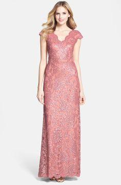 Tadashi Shoji Cap Sleeve Embellished Lace Gown | Nordstrom