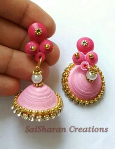 Pink quilling jhumkas