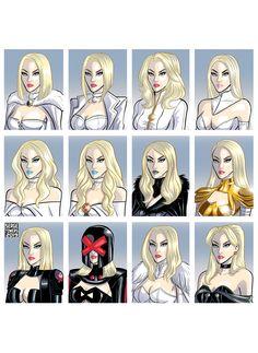 Evolution of Emma frost Marvel Comics, Marvel Xmen, Marvel Comic Universe, Comics Universe, Marvel Art, Marvel Heroes, Captain Marvel, Man Character, Comic Character