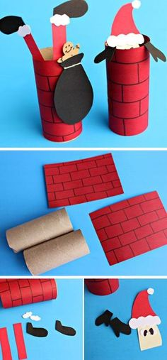 Santa Going Down a Toilet Paper Roll Chimney | Click Pic for 20 DIY Christmas Decorations for Kids to Make | Easy Christmas Crafts for Kids to Make: