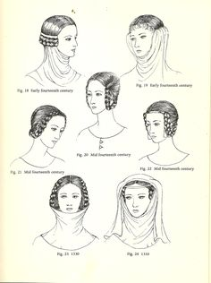Plantagenet (14th century): Horizontal Braiding, Gorget Gorget--when a wimple is worn without a veil, pinned over hair coils on the side of the head (Fig. 19). Sometimes the coils were braided horizontally (Fig.18). Horizontal Braiding- popular in the mid 14th century, the head would go uncovered, but sometimes a fillet would support the plaits ( Fig. 22).