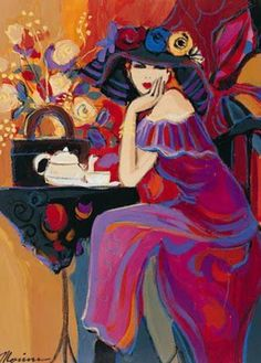 Women in Painting by Israeli Artist Isaac Maimon Sitting alone possibly at a coffee shop seems like a bold move for a women. She sips tea and looks at the viewer almost in an inviting was. She seems care free and at ease in this painting. Art And Illustration, Art Amour, Inspiration Art, Arte Pop, Fine Art, Art Design, Oeuvre D'art, Female Art, Painting & Drawing