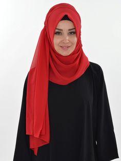 Practical Chiffon Shawl, Ready Turban, Hijab, Tesettur, Shawl, PS-0008 Red by MelikesDesign on Etsy