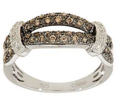 AffinityDiamond 1/3 ct tw Champagne & White Ring, Sterling
