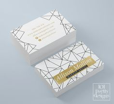 Modern geometric business card makeup business card black white gold printable business card design minimalistic business card gold foil