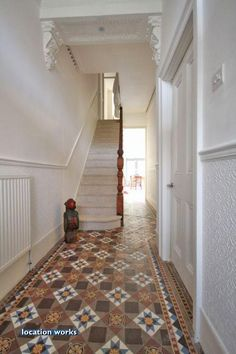 Love the tiled hallway, looks exactly like our old flat hallway! Edwardian Hallway, Edwardian Haus, Hall Tiles, Tiled Hallway, White Hallway, Hallway Colours, Hall Flooring, Hallway Inspiration, Modern Bedroom Design