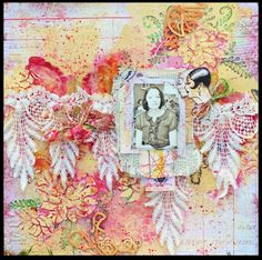 Vinntage Mixedmedia layout with lace and serviettes.  https://www.facebook.com/wilma.voermans http://www.pinterest.com/wilma8/ http://swissdutchy8.blogspot.ch/