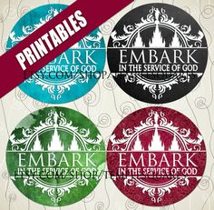"""Printable Digital Files. Variety of designs on 1"""" circles LDS Mutual YW Young Women 2015 Theme Embark in the Service of God Serve with all your heart, might, mind and strength.  Great for magnets, bottlecap necklaces, glass jewelry, stickers, labels, envelope seals for missionaries.  Make missionary gifts crafts. etsy.com/shop/TempleSquares.com"""
