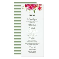 Romantic Watercolor Flower Painting Design with stripe pattern back background Custom Wedding Menu Cards. Matching Wedding Invitations, Bridal Shower Invitations, Save the Date Cards, Wedding Postage Stamps, Bridesmaid to be Request Cards, Thank You Cards and other Wedding Stationery and Wedding Gift Products available in the Floral Design Category of  the Best Day Ever store at zazzle.com