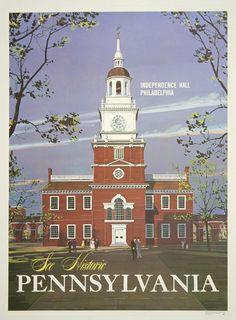 See Historic Pennsylvania Vintage Travel Poster - http://retrographik.com/see-historic-pennsylvania-vintage-travel-poster/ - classic, high resolution, historic, independence hall, old, Pennsylvania, Philadelphia, poster, retro, vintage