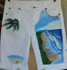 Hand Painted Shorts with beach scenes white cotton