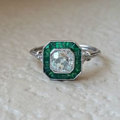 Art Deco Old Mine Diamond and Emerald by CypressCreekVintage