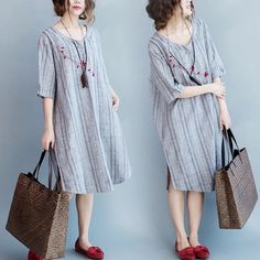 Gray loose dress women's clothes 6.23 new arrivals free shipping