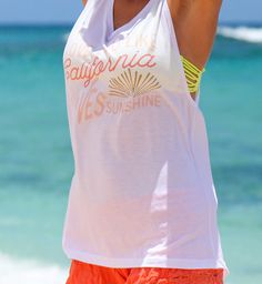 California Loves Sunshine Ladies Muscle Tank