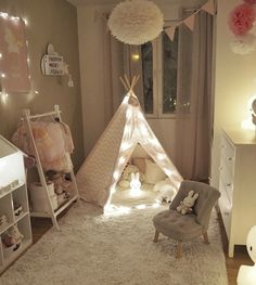 This baby room looks so fun! I love the tent with that bunny light Credits best_decor_collection - Architecture and Home Decor - Bedroom - Bathroom - Kitchen And Living Room Interior Design Decorating Ideas - Baby Bedroom, Baby Room Decor, Girls Bedroom, Bedroom Ideas, Minimalist Kids, Deco Kids, Toddler Rooms, Toddler Girl, Big Girl Rooms