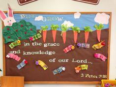 Spring bulletin board for preschool. Bible verse. Caterpillars. Carrots. Easter.