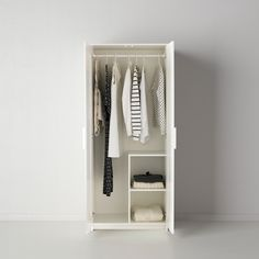 IKEA BRIMNES Wardrobe with 2 doors, white (195 CAD) ❤ liked on Polyvore featuring home, furniture, storage & shelves, armoires, ikea, wardrobe, white book shelves, adjustable shelves, adjustable storage shelves and door panel